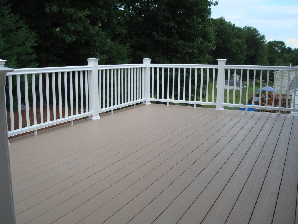 Central MA Deck Installation - TimberTech AZEK Composite White Railing - Solid State Construction