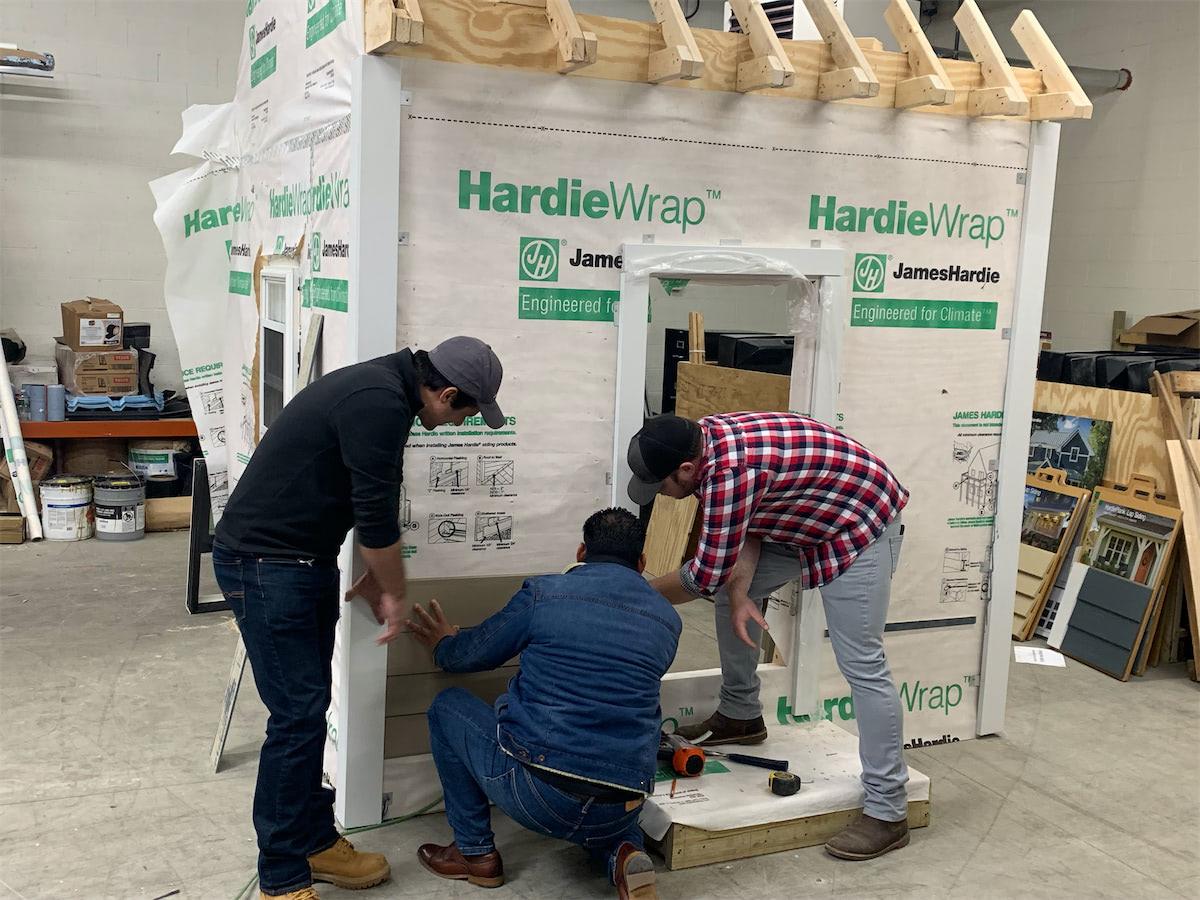 James Hardie Training Facility - Installers Practicing - Solid State Construction Of Shirley, MA