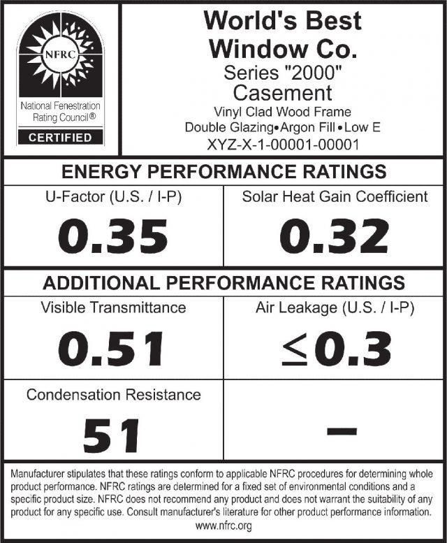 National Fenestration Rating Council label