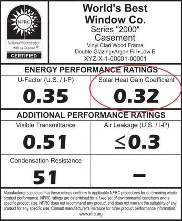 solar heat gain coefficient rating